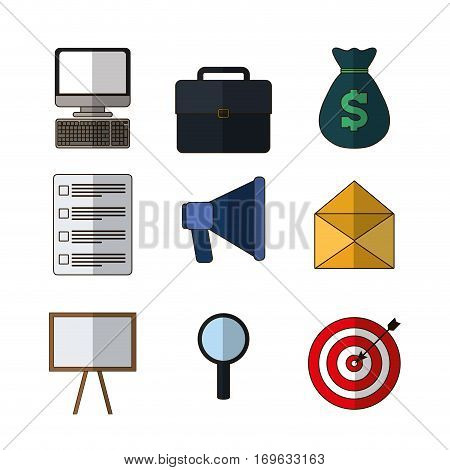 computer suitcase money checklist megaphone envelope board search bullseye business related icons image vector illustration design