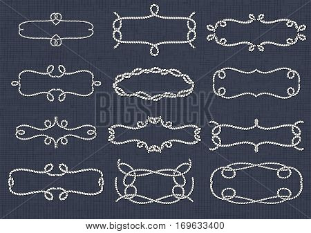 Rope frame. Knots and corners. Sling strong nautical. Vector EPS