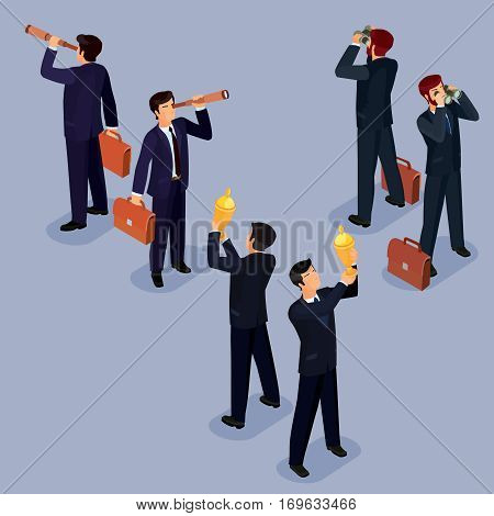 Vector illustration of 3D flat isometric people. The concept of a business leader, lead manager, CEO. Boss, his vision and personal success.