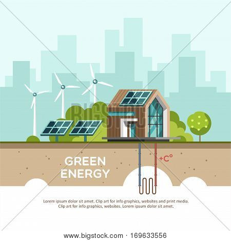 Green energy an eco friendly house - solar energy, wind energy, geothermal energy. Vector concept illustration.