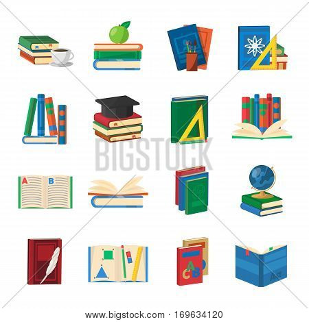 School books icons set with  educational accessories dictionaries and literature manuals of technical sciences isolated vector illustration