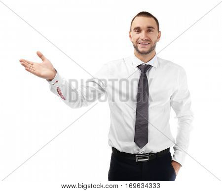 Young business coach explaining seminar on white background