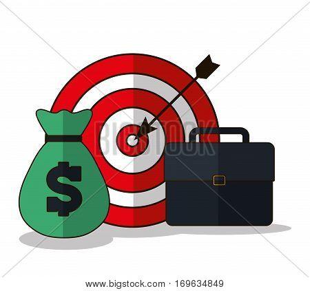 money bullseye suitcase business related icons image vector illustration design