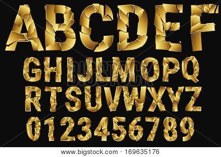Destroyed font on a white background. Full set.