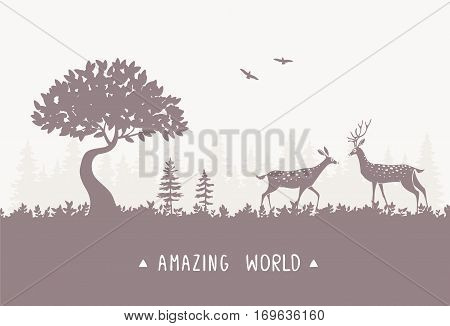 Beautiful and amazing silhouette of two stylized deer in forest with sample text. Stylish vector illustration. Silhouette Deer. Panoramic view nature