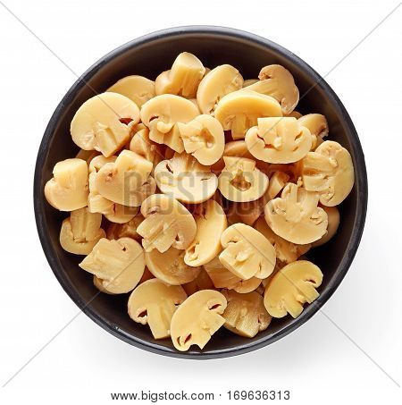 Bowl Of Pickled Mushroom Halves From Above