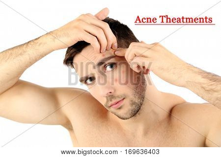 Skin care concept. Young man squeezing pimple, white background poster