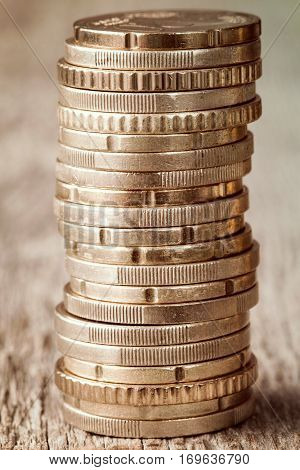Coins stacked on each other. Money concept.