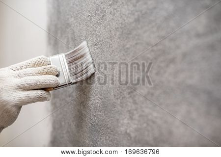 hand hold brush for color paint concrete Loft style on wall