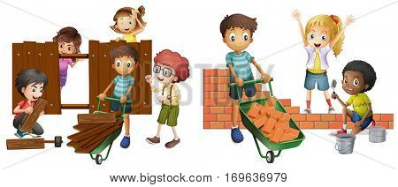 Children building brick wall and wooden fence illustration