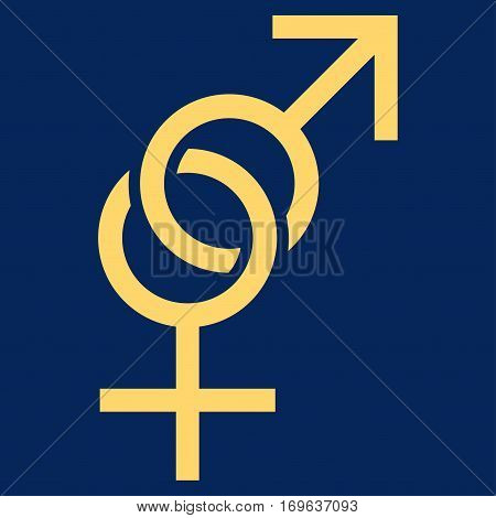 Sex Symbol flat icon. Vector yellow symbol. Pictograph is isolated on a blue background. Trendy flat style illustration for web site design logo ads apps user interface.