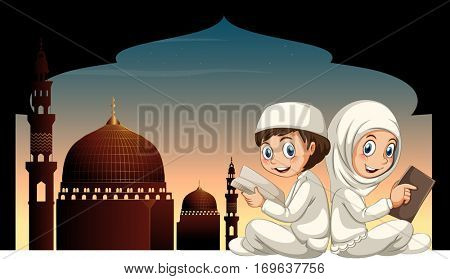 Two muslim kids reading book with mosque background illustration