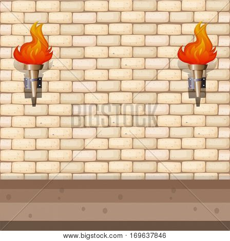 Background design with brick wall and lantern illustration