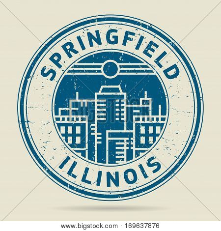 Grunge rubber stamp or label with text Springfield Illinois written inside vector illustration