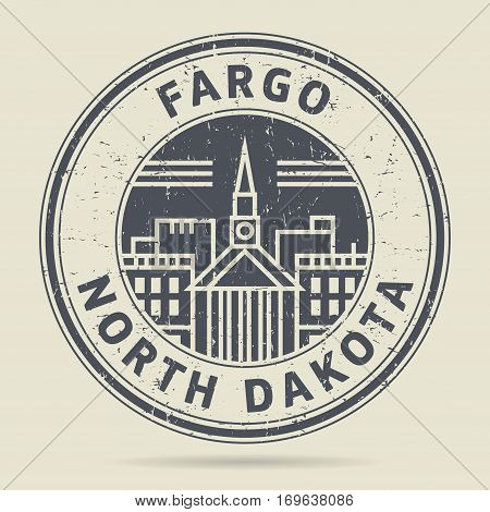 Grunge rubber stamp or label with text Fargo North Dakota written inside vector illustration