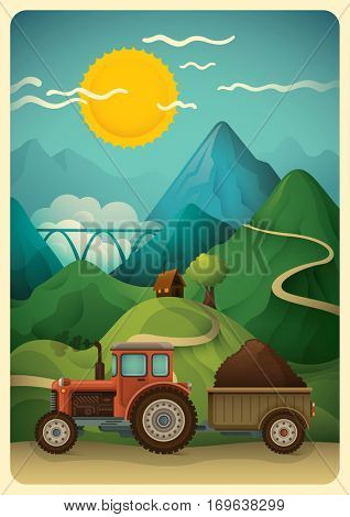 Illustration of a rural countryside scene with tractor, house, tree, mountain and sunny sky. Vector illustration.