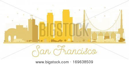San Francisco City skyline golden silhouette. Simple flat concept for tourism presentation, banner, placard or web site. Business travel concept. Cityscape with landmarks