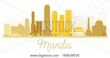 Manila City skyline golden silhouette. Simple flat concept for tourism presentation, banner, placard or web site. Business travel concept. Cityscape with landmarks.