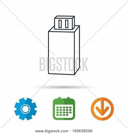 USB drive icon. Flash stick sign. Mobile data storage symbol. Calendar, cogwheel and download arrow signs. Colored flat web icons. Vector