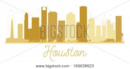 Houston City skyline golden silhouette. Simple flat concept for tourism presentation, banner, placard or web site. Business travel concept. Cityscape with landmarks