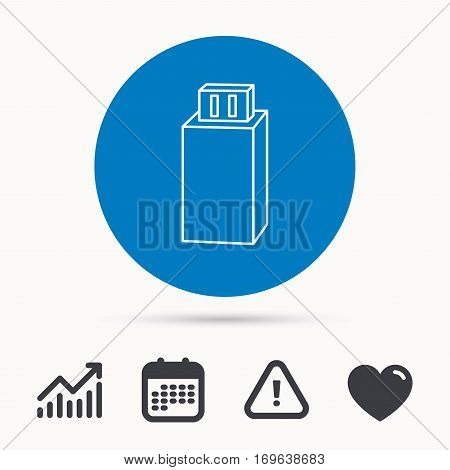 USB drive icon. Flash stick sign. Mobile data storage symbol. Calendar, attention sign and growth chart. Button with web icon. Vector