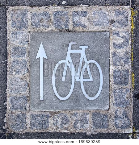 A bicycle lane sign with directional arrow on an urban road surface.