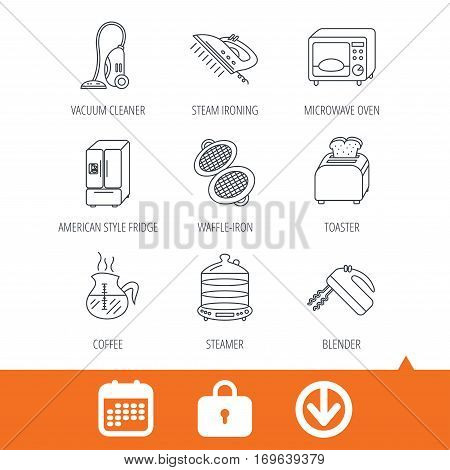 Microwave oven, coffee and blender icons. Refrigerator fridge, steamer and toaster linear signs. Vacuum cleaner, ironing and waffle-iron icons. Download arrow, locker and calendar web icons. Vector