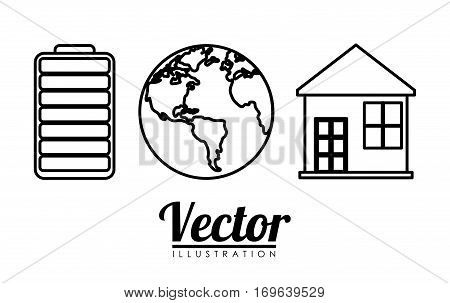 battery planet house energy or electricity sources icon image vector illustration design