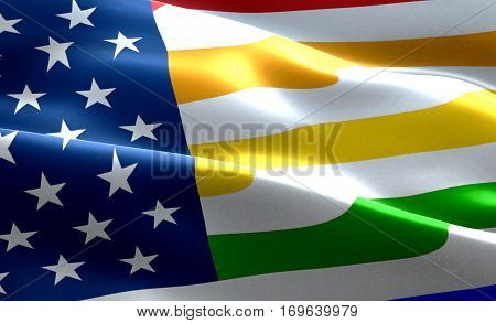 Closeup Of American Usa Flag Background, Stars And Stripes With Colorful Of Gay Pride Rainbow Flag,