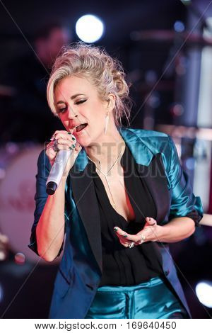 NEW YORK-DEC 31: Recording artist Carrie Underwood onstage during Dick Clark's New Year's Rockin' Eve at Times Square on December 31, 2015 in New York City.