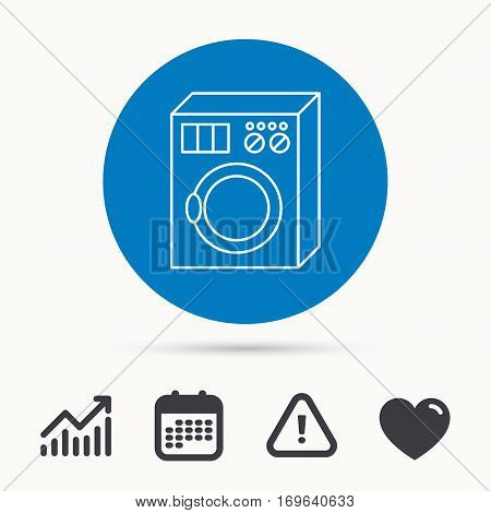 Washing machine icon. Washer sign. Calendar, attention sign and growth chart. Button with web icon. Vector