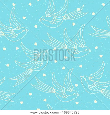 Seamless pattern with spring birds swallows and hearts . Romantic or valentines day print. Vector illustration