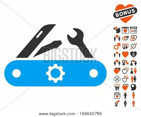 Swiss Knife pictograph with bonus marriage symbols. Vector illustration style is flat iconic elements for web design app user interfaces.