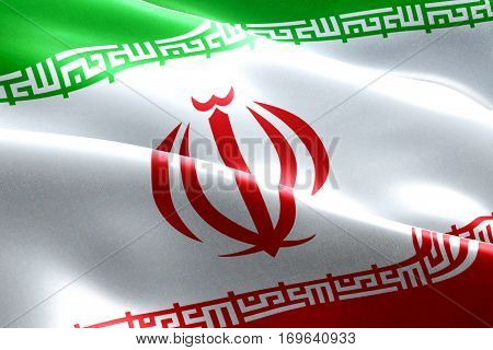 Iranian Flag Waving Texture Fabric Background, Crisis Of Iran For Nuclear