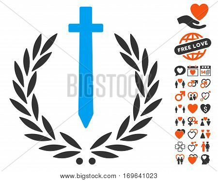Sword Honor Embleme pictograph with bonus marriage pictograms. Vector illustration style is flat iconic elements for web design app user interfaces.