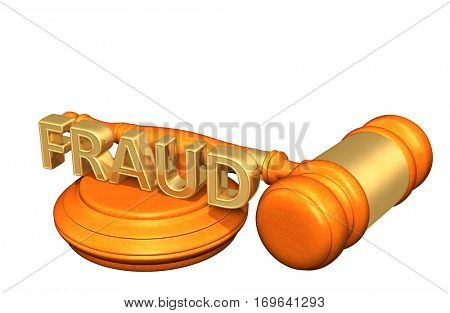 Fraud Law Legal Gavel Concept 3D Illustration