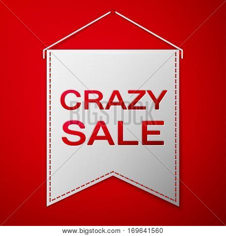 Grey pennant with inscription CRAZY SALE over a red background. Sale concept for shops store market, web and other commerce. Vector illustration.