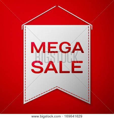 Grey pennant with inscription MEGA SALE over a red background. Sale concept for shops store market, web and other commerce. Vector illustration.