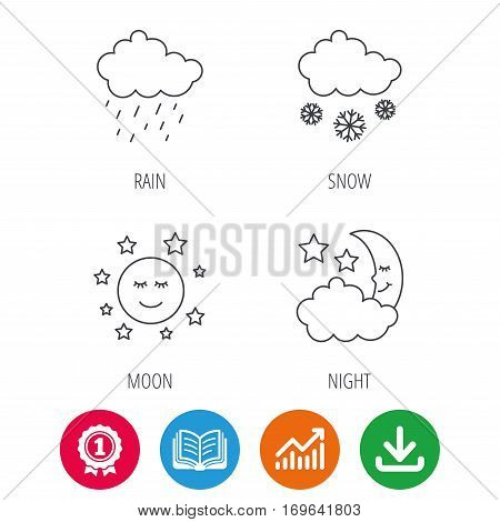 Weather, night and rain icons. Moon night and snow linear signs. Award medal, growth chart and opened book web icons. Download arrow. Vector