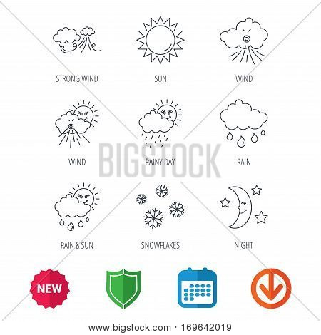 Weather, sun and rain icons. Moon night, clouds linear signs. Strong wind, snowflakes and water drops flat line icons. New tag, shield and calendar web icons. Download arrow. Vector