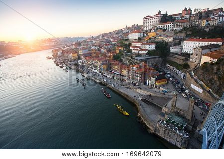 Douro river and Ribeira from Dom Luis I bridge, Porto, Portugal.