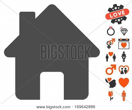 Home icon with bonus lovely clip art. Vector illustration style is flat iconic symbols for web design app user interfaces.