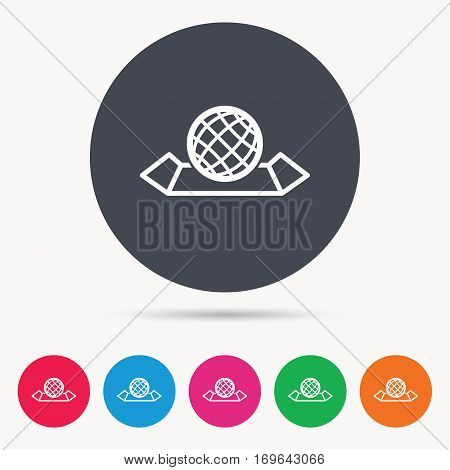 World map icon. Globe sign. Travel location symbol. Colored circle buttons with flat web icon. Vector