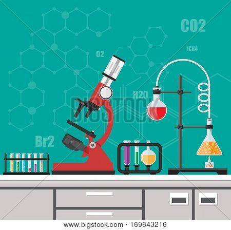 Laboratory equipment, jars, beakers, flasks, microscope, spirit lamp on table. Biology science education medical vector illustration in flat style