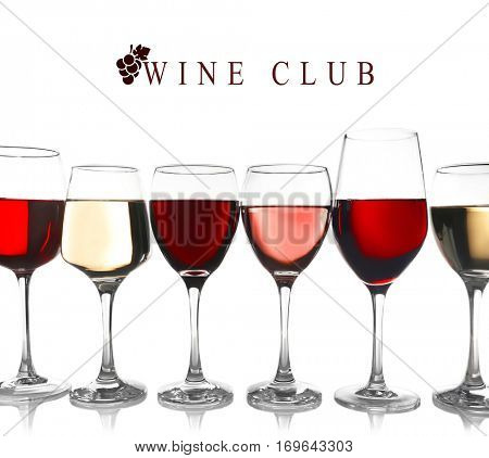 Glasses of different wine and text WINE CLUB on white background