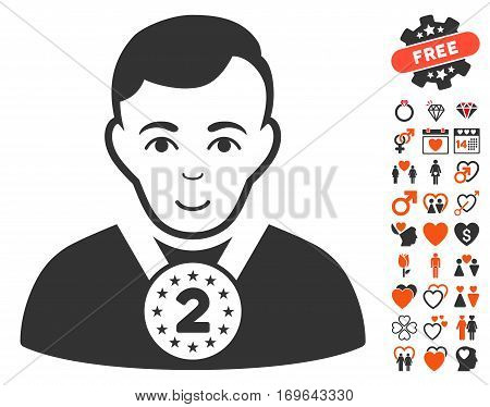 2nd Prizer Sportsman pictograph with bonus love clip art. Vector illustration style is flat iconic elements for web design app user interfaces.