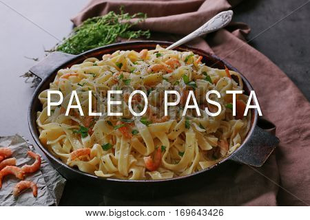 Paleo pasta and healthy food concept