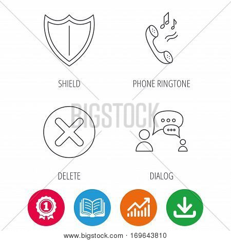 Phone ringtone, delete and chat speech bubble icons. Shield linear sign. Award medal, growth chart and opened book web icons. Download arrow. Vector