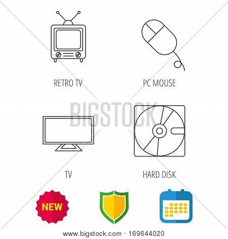 Hard disk, pc mouse and retro tv icons. Widescreen TV linear sign. Shield protection, calendar and new tag web icons. Vector