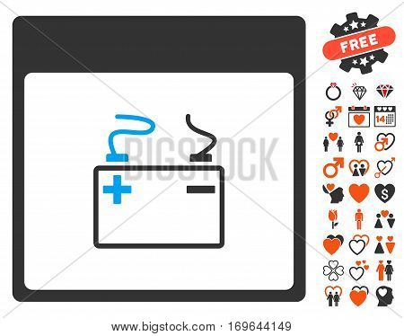 Accumulator Calendar Page icon with bonus decoration icon set. Vector illustration style is flat iconic elements for web design app user interfaces.